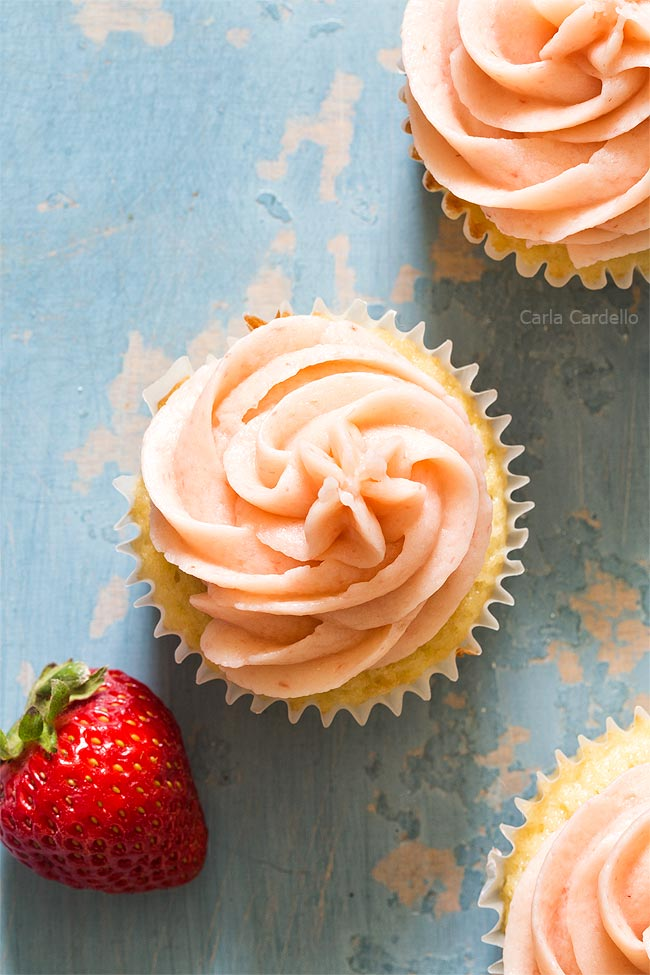 Strawberry frosting on cupcake