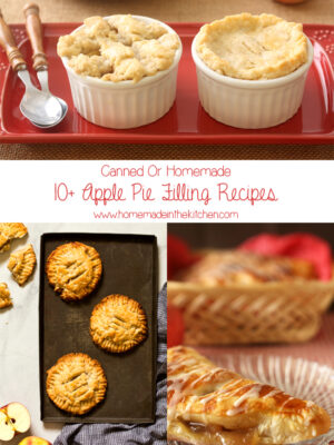 Collage of apple pie filling recipes